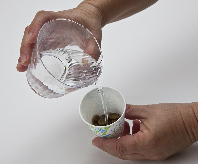 Water on food in cup