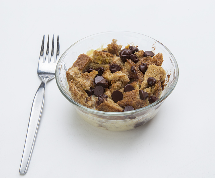 Bread pudding with chocolate chips