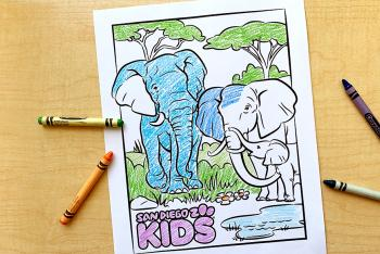 Print-out coloring page featuring elephant dad, mom and baby at watering hole.